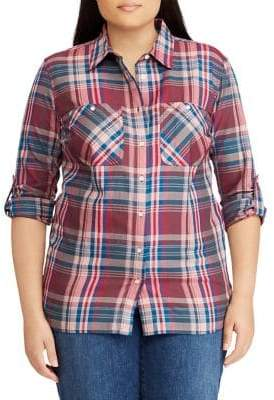 Lauren Ralph Lauren Plus Plaid Twill Shirt
