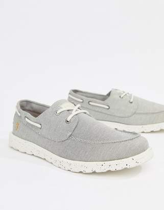 Farah Clegg Canvas Boat Shoes In Gray