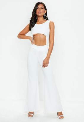 Missguided White Underboob Cut Out Flared Leg Romper
