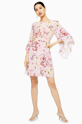 Womens **Floral Printed Dress By Lace & Beads - Pink