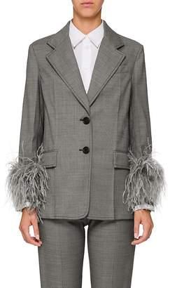 Prada Women's Feather Embellished Wool-Blend Blazer