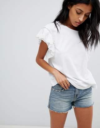 AllSaints broderie ruffle sleeve t-shirt