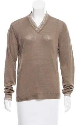 Malo V-Neck Linen Sweater