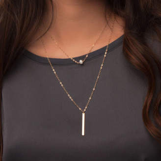 Lulu + Belle Layered Necklace Set With Pearl And Long Bar