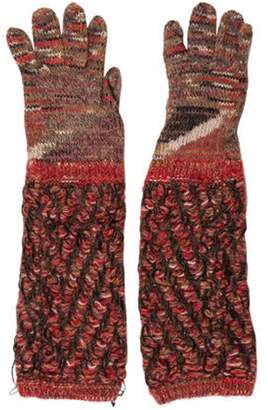 Missoni Wool Knit Gloves Red Wool Knit Gloves