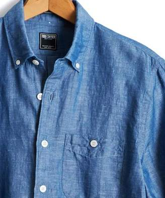 Todd Snyder Slim Fit Patch Pocket Button Down Chambray Shirt In Indigo