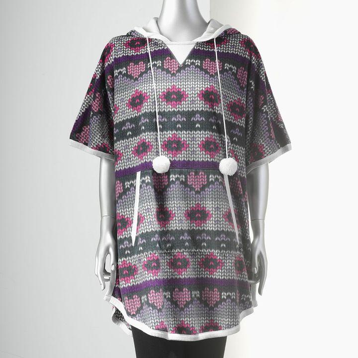 Vera Wang Simply vera pajamas: fleece hooded pajama poncho top - women's
