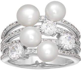Swarovski SOFIA Certified Sofia Bridal Cultured Freshwater Pearl & Cubic Zirconia Sterling Silver Ring