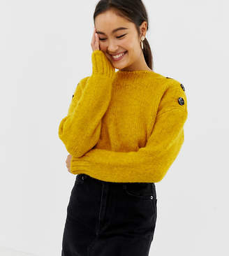 New Look button neck jumper in bright yellow