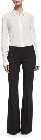 MICHAEL Michael KorsMichael Kors Mid-Rise Flat-Front Flare Pants, Black