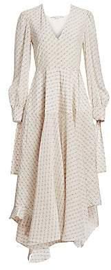 Stella McCartney Women's Asymmetric Monogrammed Silk Deep V-Neck Dress