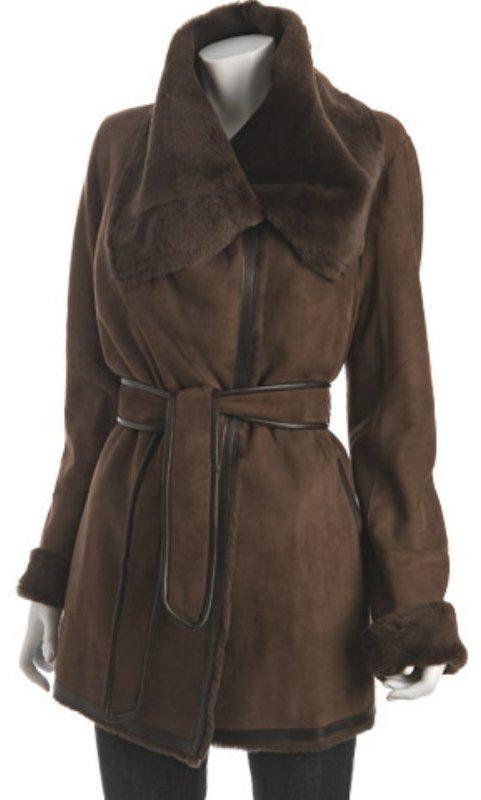 Jekel castor lamb shearling 'Presley' belted wrap coat