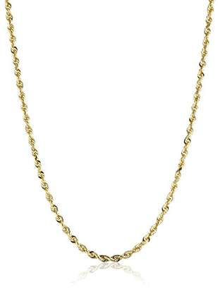 Men's 10k Yellow Gold 3.0mm Solid Diamond-Cut Rope Chain Necklace