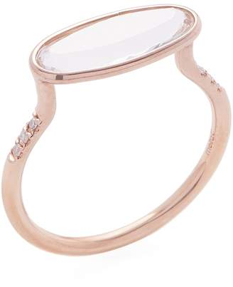 Meira T Women's 14K Rose Gold, White Topaz & 0.04 Total Ct. Diamond Oval Ring