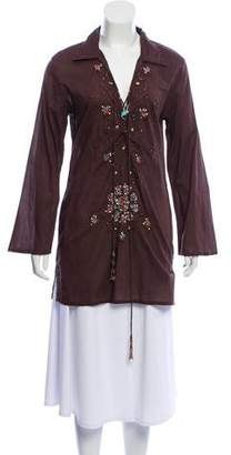 Melissa Odabash Embellished Lace-Up Tunic w/ Tags