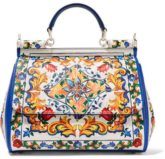 Dolce & Gabbana - Sicily Medium Printed Textured-leather Tote - White $2,495 thestylecure.com