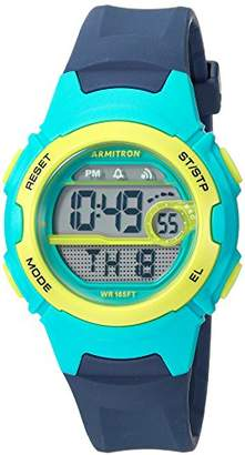 Armitron Sport Women's 45/7088NVY Teal and Lime Green Accented Digital Chronograph Resin Strap Watch