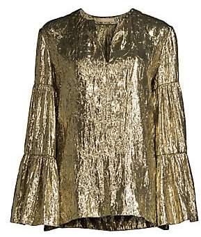 Michael Kors Women's Metallic Tiered Sleeve Peasant Top