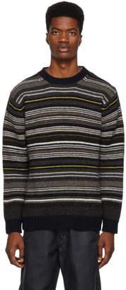 Junya Watanabe Navy Horizontal Stripes Sweater
