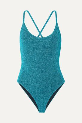 Caroline Constas Delfina Stretch-lurex Swimsuit - Teal