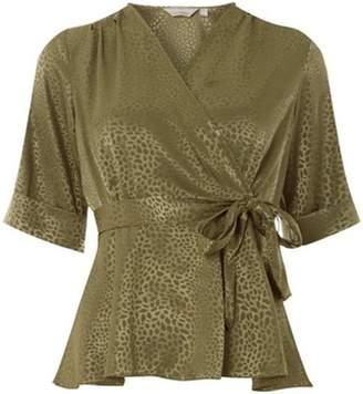Dorothy Perkins Womens Petite Khaki Jacquard Wrap Top
