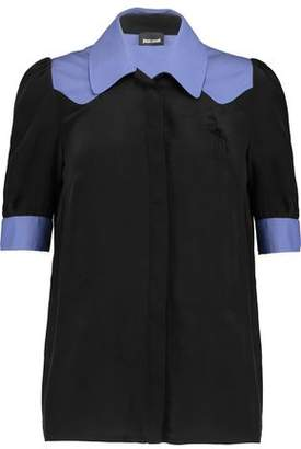 Just Cavalli Crepe-Trimmed Washed-Silk Shirt