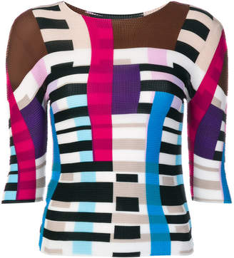 Issey Miyake colour blocked knitted top