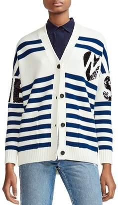 Maje Murmur Striped & Sequined Cardigan