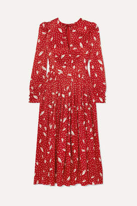 Alessandra Rich Silk-jacquard Midi Dress - Red