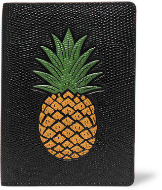 The Case Factory - Printed Lizard-effect Leather Passport Cover - Black