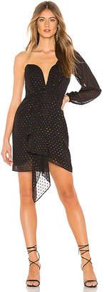 Michelle Mason Draped One Sleeve Mini Dress