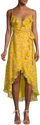 AVEC LES FILLES Floral Ruffle High-Low Wrap Dress