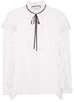 Gucci Ruffled cotton and silk blouse