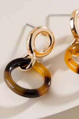 francesca's Kingsley Marbled Resin Earrings in Brown - Amber