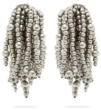 Vanda Jacintho - Shower Beaded Clip On Earrings - Womens - Silver