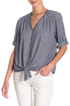 Max Studio Front Button Roll Sleeve Knit Top