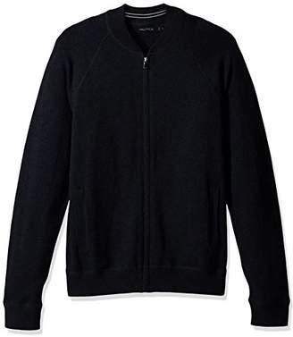 Nautica Men's Long Sleeve Full Zip Bomber Sweater
