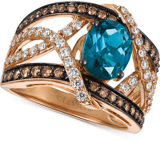 Le Vian® Chocolatier London Blue Topaz (2 ct. t.w.) and Diamond (9/10 ct. t.w.) Statement Ring in 14k Rose Gold, Only at Macy's $4,600 thestylecure.com