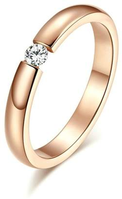 Aooaz Girls Womens Stainless Steel Ring, Round Crystal CZ Wedding Bands Size 9