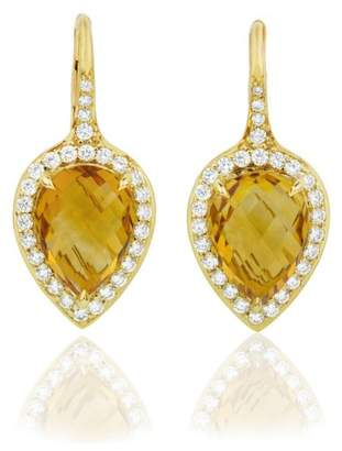 Pear Shape Orange Citrine and Diamond Halo French Wire Lever Back Drop Earrings