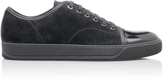 Lanvin Cap-Toe Suede And Patent Leather Sneakers