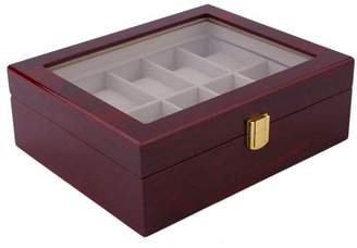 Music 10 Grids Wood Watch Display Case Jewelry Storage Holder Box Organizer Gift
