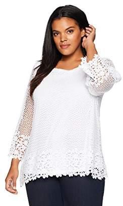 Alfred Dunner Women's Plus Size Crochet Tunic Top
