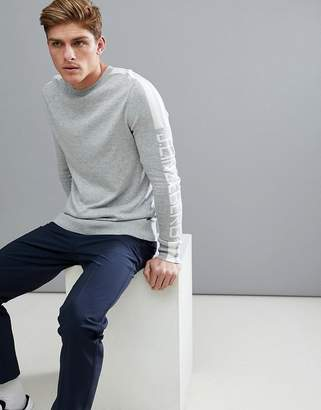 J. Lindeberg Nolans Crew Neck Knitted Sweater In Gray