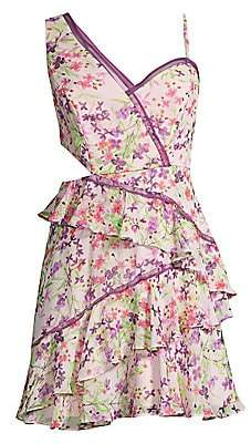 0723596f02b BCBGMAXAZRIA Women s Asymmetric Floral Mini Dress