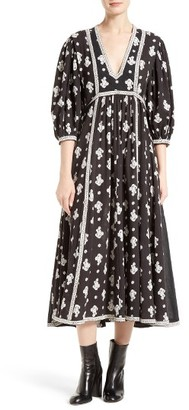 Women's La Vie Rebecca Taylor Blanche Fleur Cotton Midi Dress $295 thestylecure.com