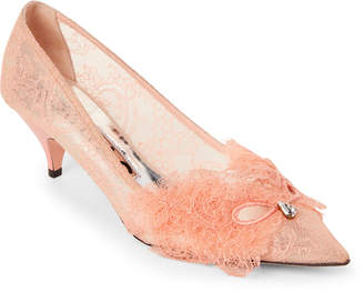Rochas Coral Lace Pointed Toe Kitten Heel Pumps