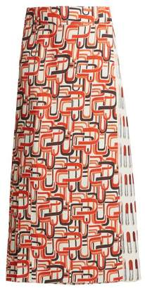 Lipstick And U Print Wrap Skirt - Womens - Red Print