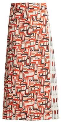 Prada Lipstick And U Print Wrap Skirt - Womens - Red Print