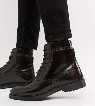Asos DESIGN Wide Fit lace up brogue boots in burgundy leather with ribbed sole